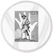 Uncle Sam's Right Hand - Us Marines Round Beach Towel