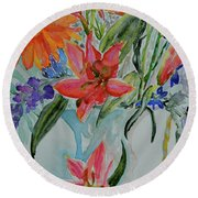 Round Beach Towel featuring the painting Uncontainable by Beverley Harper Tinsley