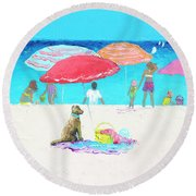 Under A Red Umbrella Round Beach Towel