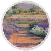Under A Summer Sun In Lavender Fields Round Beach Towel