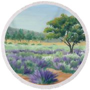 Round Beach Towel featuring the painting Under Blue Skies In Lavender Fields by Sandy Fisher