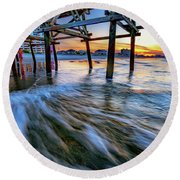 Under Cherry Grove Pier 2 Round Beach Towel