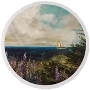 Under Full Sail Round Beach Towel by John Williams