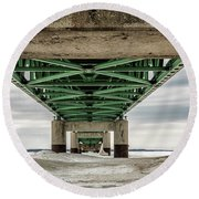 Round Beach Towel featuring the photograph Under Mackinac Bridge Winter by John McGraw