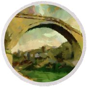 Under Old Bridge Round Beach Towel