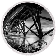 Under Sea Cabin Pier At Sunset Round Beach Towel