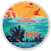 Bright Coral Reef Round Beach Towel