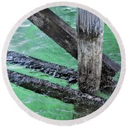 Under The Boardwalk Round Beach Towel