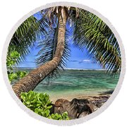 Under The Coconut Tree Round Beach Towel