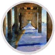 Under The Galvaston Pier Round Beach Towel by Cedric Hampton