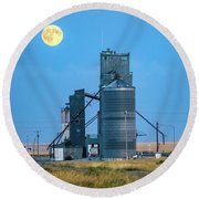 Under The Harvest Moon Round Beach Towel