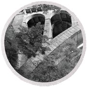 Round Beach Towel featuring the photograph Under The Henry Avenue Brudge by Bill Cannon