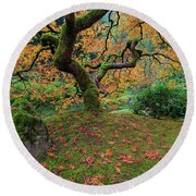 Under The Japanese Mape Tree In Fall Season Round Beach Towel