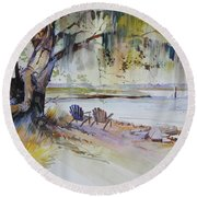 Under The Live Oak Round Beach Towel
