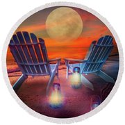 Round Beach Towel featuring the photograph Under The Moon by Debra and Dave Vanderlaan
