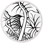 Under The Night Leaves Round Beach Towel