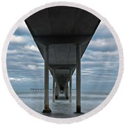 Under The Ocean Beach Pier San Diego Early Morning Round Beach Towel