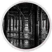 Under The Pier - Black And White Round Beach Towel