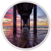 Under The Pier Sunset Round Beach Towel