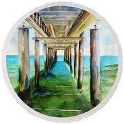 Under The Playa Paraiso Pier Round Beach Towel