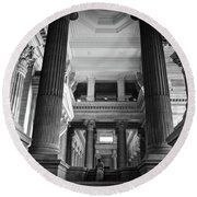 Under The Scaffolding Of The Palace Of Justice - Brussels Round Beach Towel