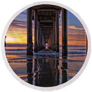 Under The Scripps Pier Round Beach Towel by Sam Antonio Photography