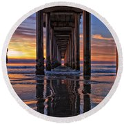 Under The Scripps Pier Round Beach Towel