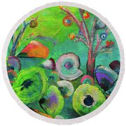 under the sea  - Orig painting for sale Round Beach Towel