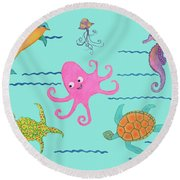 Under The Sea, Pink Octopus Round Beach Towel