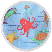 Under The Sea, Red Octopus Round Beach Towel