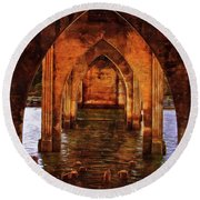 Under The Siuslaw River Bridge Round Beach Towel by Thom Zehrfeld