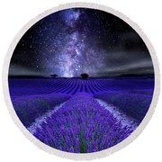 Under The Stars Round Beach Towel
