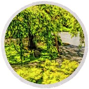 Under The Willow Round Beach Towel by Nancy Marie Ricketts