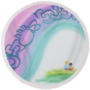 Under The Wings Of The Shechina Round Beach Towel