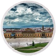 The Meridian Palace And Cityscape In Florence, Italy Round Beach Towel