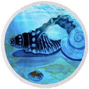 Under Water Castles Round Beach Towel by Leanne Seymour