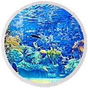 Under Water Round Beach Towel