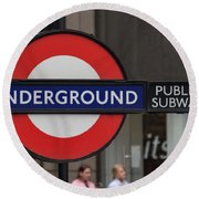 Underground Sign London Round Beach Towel