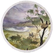 Underpainting Scene Round Beach Towel