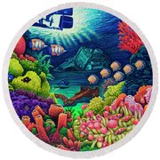 Round Beach Towel featuring the painting Undersea Creatures Vii by Michael Frank