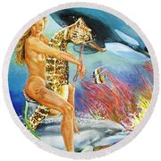 Undersea Fantasy Round Beach Towel by Bryan Bustard