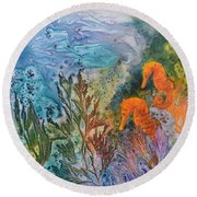 Round Beach Towel featuring the painting Undersea Garden by Nancy Jolley