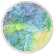 Round Beach Towel featuring the painting Undersea Luminescence by Kristen Fox