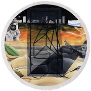 Round Beach Towel featuring the painting Understanding Time by Ryan Demaree