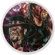 Undertaker And Kane Round Beach Towel