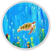 Underwater Magic 5-happy Turtle Round Beach Towel