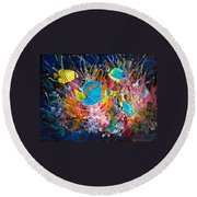 Underwater Sea Life Round Beach Towel