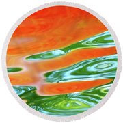 Undulating Orange Green Round Beach Towel