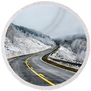 Unexpected Autumn Snow Highway Round Beach Towel by Thomas R Fletcher