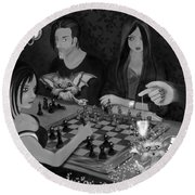 Unexpected Company - Black And White Fantasy Art Round Beach Towel